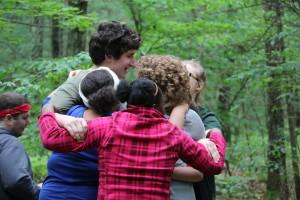 Campers Hugging
